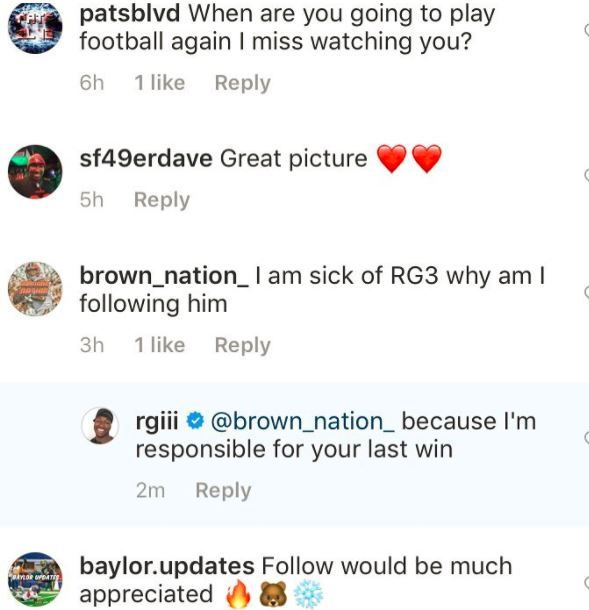 rg3 insta comment